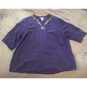 Purple and Black Blouse with Gold Beading